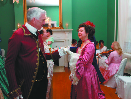 Millie Hemley and Frank Yagodzinski, both of Cincinnati, dance at the Colonial Days historical ball at Wickland.