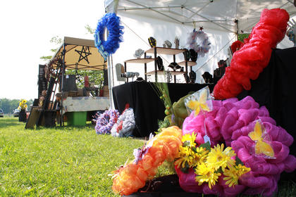 Mary Staples from Barren County sold a variety of crafts, including lawn decorations, at the second annual Wickland Arts & Crafts Festival held June 11-12, 2011.