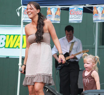 Tammy Jo Baker performed on stage during the competition with her daughter, Baylee Jo, 2.