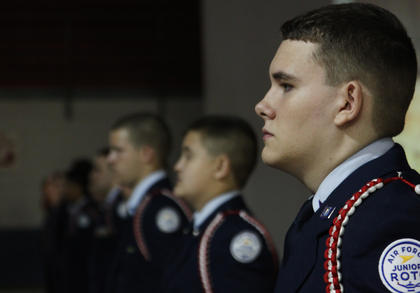 Nelson County High School Air Force Junior ROTC Dep. Devin Brown, junior, lines up at attention in the high school gym during the school's annual Veterans Day ceremony Friday. Veterans were invited to attend the ceremony, which included a color guard ceremony and music from the Nelson County High School band.
