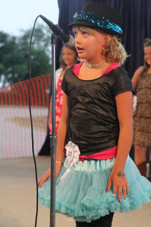 Alexis Leigh Raisor, Bardstown, introduces herself at the Miss Pre-Teen Nelson County Fair Pageant last Wednesday.