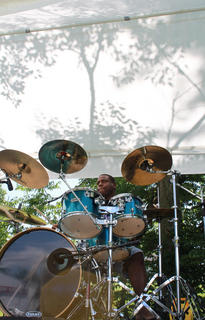 Kenneth Crockett plays the drums for Stoner Road, one of several musical acts to perform at the 2011 Fairfield Days and Homecoming June 25-26.