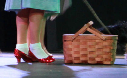 The good witch Glinda (Lucy Lemoyne) gave Dorothy (Trish Epperson) ruby slippers to wear during her journey down the Yellow Brick Road.