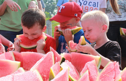 Blake Hagan, 5, left, and Joey Goff, 5, center, join a large group of children age 6 and younger competing in the watermelon eating contest at the Bloomfield Picnic in the Park July 9, 2011.