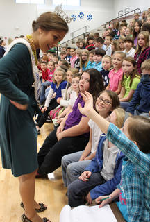 Ann Blair Thornton, Miss Kentucky 2011, speaks with student Ashley Wilkerson during her visit to Foster Heights Elementary School Dec. 7, 2011. Thornton will compete in the Miss America pageant in Las Vegas in January.