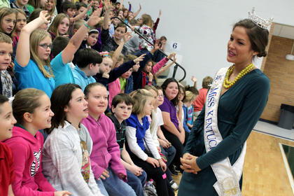 Ann Blair Thornton, Miss Kentucky 2011, speaks with students at Foster Heights Elementary School the morning of Dec. 7, 2011. Thornton will compete in the Miss America pageant in Las Vegas in January.