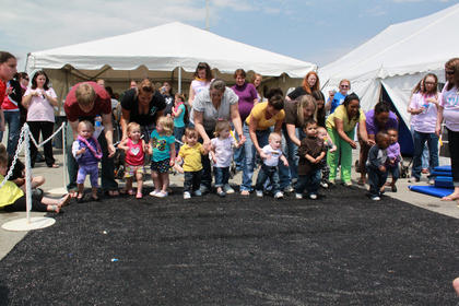 The field was set for the walking category of the Diaper Derby.