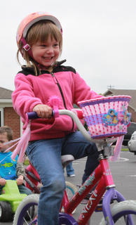 Jacqueline Wells, 5, had fun from beginning to end at the Trike-a-thon held at Little Angels Primary House May 4 to benefit St. Jude Children's Hospital.
