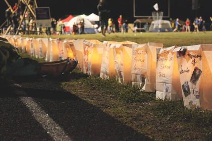 Luminaries lined the track at Bardstown High School to remember those who have lost their battle with cancer or to honor those who are still fighting.