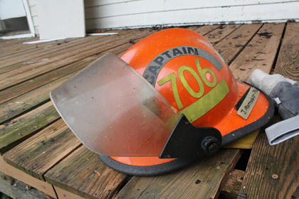 Several helmet visors were melted or damaged by the heat of the fires.