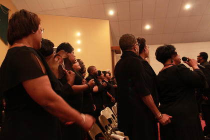 The Community Choir, comprised of singers from churches throughout Nelson County, performed under the direction of the Rev. Shawn Stinson of Second Baptist Church in Fairfield to celebrate the 25th anniversary of the Martin Luther King Day holiday Jan. 17, 2011, at St. Monica Catholic Church in Bardstown.