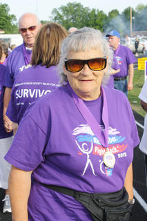 Betty Dragoo, Bardstown, gets in place before she participates in the survivor's walk at Relay for Life.