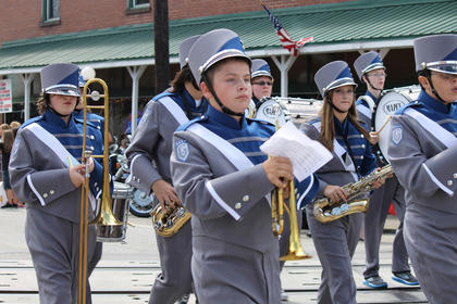 The Thomas Nelson High School band marches in the Iron Horse Festival parade.