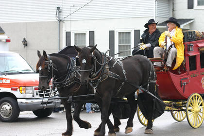 Jerry Hahn brought horses and wagons to the parade.