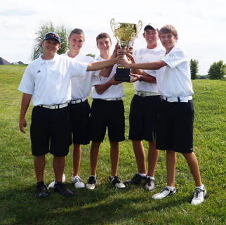 Bethlehem's boys' golf squad celebrates their win in the Lee's Famous Recipe Kickin' Chicken Classic last week over their local counterparts. This was the second year for the Kickin' Chicken Classic, which is the preseason scrimmage opener for local squads.