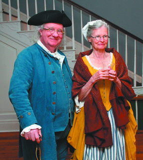Dr. Benjamin Franklin and his lady (Mr. and Mrs. Frank Watson of Indianapolis) enjoy the historical ball at Wickland.