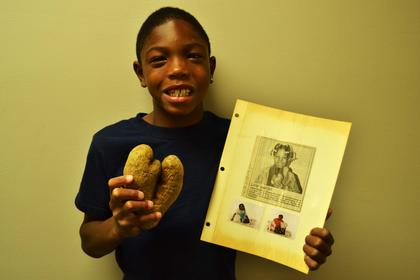 Ro'zarion Mason found a heart shaped potato just like his aunt, Jeanne Maddox who appeared in The Kentucky Standard in February 1995.