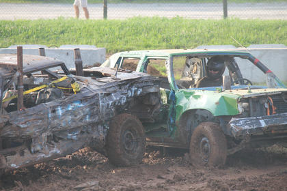Jason Cundiff of New Hope gets T-bonded by another car in the Demolition Derby.
