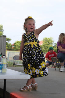 "Maria ""Jorja"" Bartley entertains the judges at the Nelson County Fair Tiny Tots Contest held Friday, July 20 at the Nelson County Fairgrounds."
