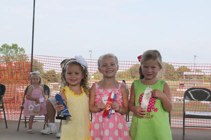 Winners of the Nelson County Fair Tiny Tots Contest-Girls 49-59 month category were first place, Lainé Elizabeth Ballard, daughter of Elizabeth Gail and Allen Joseph Ballard, of Bardstown; second place, Gabriella Rose Quinn, daughter of Rebecca and Daniel Quinn, of Bardstown; third place, Ella Ray Kenny, daughter of Tim and Angela Kenny, of Bardstown.