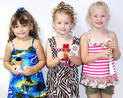 The winners in the Girls 49-59 month category were, from left, first place Alexandria Grace Brockman, daughter of Jill and Lynn Brockman, Bardstown; second-place, Addisyn Nevaeh Cull, daughter of Jessica Lyn Newton and Adam Joseph Cull, Boston; and third-place, Savannah Leigh Donahue, daughter of Mike and Jackie Donahue, Bardstown.