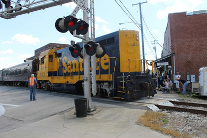 A festival to celebrate New Haven's rail heritage wouldn't be complete without a passenger train from the Kentucky Railway Museum crossing the main street.
