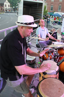 A crowd of perhaps 2,500 or more enjoyed the music of Pat Kirtley, Bardstown/Australian folk-rock musician Pauly Zarb's band, and other musicians at Pauly Zarb's 2011 Bardstown Street Concert on North Third Street in Bardstown July 9. Bardstown Main Street Manager Rita Riley estimated the event drew a crowd of 2,500 or more.
