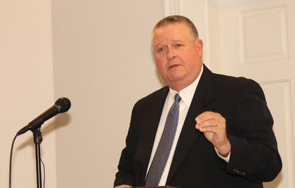 Mike Brooks, the Ron Filkins Standard Communications Volunteer of the Year for 2013, talked about what motivates him to volunteer and the others who serve with him at the Chamber of Commerce dinner Friday night.