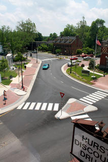 JUNE 1, 2011: Crosswalks are recently painted and pedestrian islands around Court Square are complete.