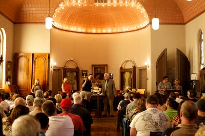 Bourbon collectors packed the chapel at Spalding Hall Saturday to bid on rare items at the Master Distillers' Auction, which serves as the primary fund raiser for the Oscar Getz Museum of Whiskey History.