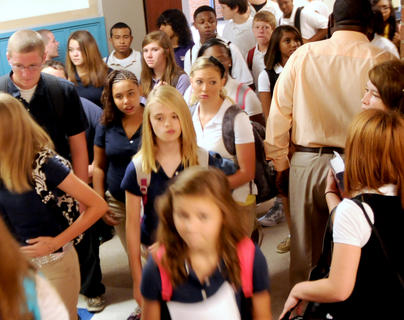 Bardstown High School students walk to homeroom on the first day of school Wednesday.