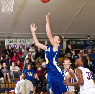 Bethlehem's Zach Coniff tosses up a shot against Bardstown during the Tigers' 59-38 win Jan. 14.