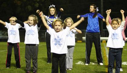 Members of the Bethlehem cheer squad got some help from some future cheerleaders at a recent football game. Pictured are (front) Kenley Downs, (middle row) Ashton Lyvers, Chloe Nicholson, (third row) Molly Godbey, Ginny Spalding and Natalie Skinner, as well as (back) Bethlehem Cheerleaders Ashton Ballard and Brandi Shay Cecil.