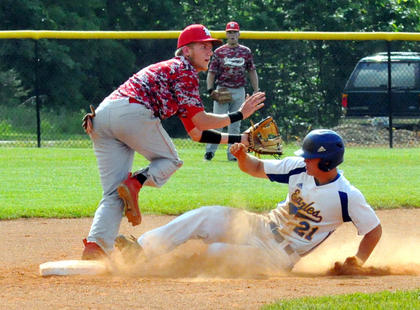 Bethlehem's Connor Ballard arrives safe at second with a first-inning steal while Nelson County's Kaleb Cecil covers the play. Ballard eventually ended up scoring the game's first run in the Eagles' 9-0 win in the 19th District championship Wednesday.