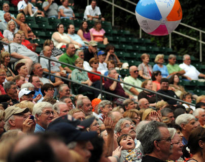 Paul Revere and the Raiders fans toss a beach ball at the J. Dan Talbott Amphitheater Monday.