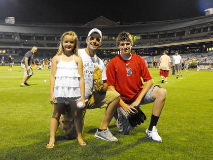 Kyle Crawford, son Kameron Crawford and daughter Kendal Crawford spent Father's Day at Louisville Slugger Field. They got to run the bases and play catch with their dad in the outfield after the game.
