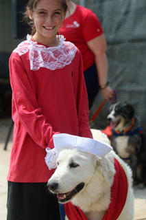 Tatum Sharp handles her Great Pyrenees, Princess, after winning the Best Dressed contest at Dippin' Dogs. Princess was dressed as Popeye with Tatum complimenting the ensemble as Olive Oil.