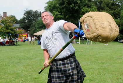 Braidy Miller, Tennessee, throws a sheaf at the Wickland Highland Games and Celtic Festival Saturday.
