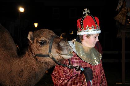 William Hahn leads a camel owned by magistrate Jerry Hahn at the living nativity at Bardstown Baptist Church Friday.