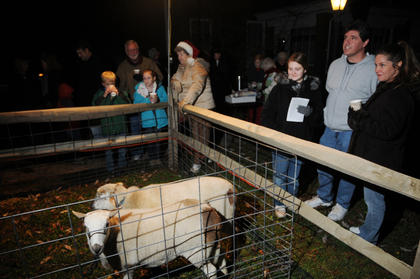 Summer Hopkins, Mike Hopkins and Kimberly Hopkins look at sheep at the living Nativity at Bardstown Baptist Church Friday.