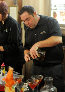 Rob Heaton, bartender at The Old Talbott Tavern, competes in the Mixed Drink Challenge Wednesday.