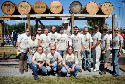 The Buffalo Trace men's and women's teams pose for a photo after the World Championship Barrel Relay Saturday.