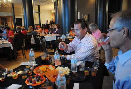 John Zola, Colorado, and Douglas Walker, Colorado, sample bourbon cocktails at Bourbon Cocktail Mixology Saturday.