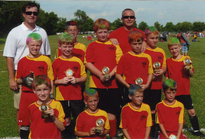 The U10 Eagles were regular season and tournament champs. Team members include (front) Cambron Rogers, Jonathan Hall, Dylan Hill, Walker Settles, (middle) Xavier Cheek, Will Rapier, D.J. Muncy, Lane Grace, Tyler Healey, Grant Amshoff, (back) assistant coach Ken Rapier, Ted Garrett and head coach Jason Cheek.
