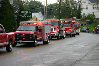 Fire trucks participate in the parade.