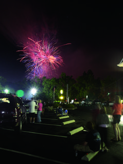 People gathered July 10 to watch fireworks after a showing of The Stephen Foster Story at the J. Dan Talbott Amphitheatre.