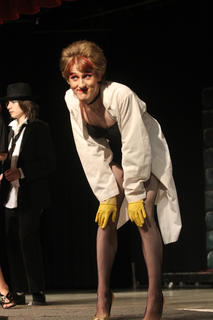 "Adam Riley portrayed Dr. Frank 'N' Furter in The Dark Alley Players' performance of ""The Rocky Horror Show."""