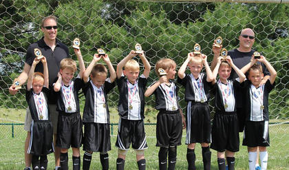 The Galaxy were U8 boys soccer champs for their division for spring 2013. Team members include Landon Lucas, Challen McCoy, Austin Hall, Conner Fulkerson, Gabriel Johnson, Daniel Jackey, Matthew McCoy, Gibson Hagan and (back) coaches Paul McCoy and Randy Sweazy. Not pictured is team member Alexander Walker.
