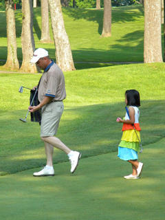Todd Schwartz and Margaret Schwartz, father and daughter, at  My Old KY Home State Park Golf Course. Photo was taken by Holly Schwartz.