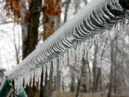 Following a winter storm in December 2010, Curtsinger took this picture of the icicles hanging from the top of her parents' backyard swing.